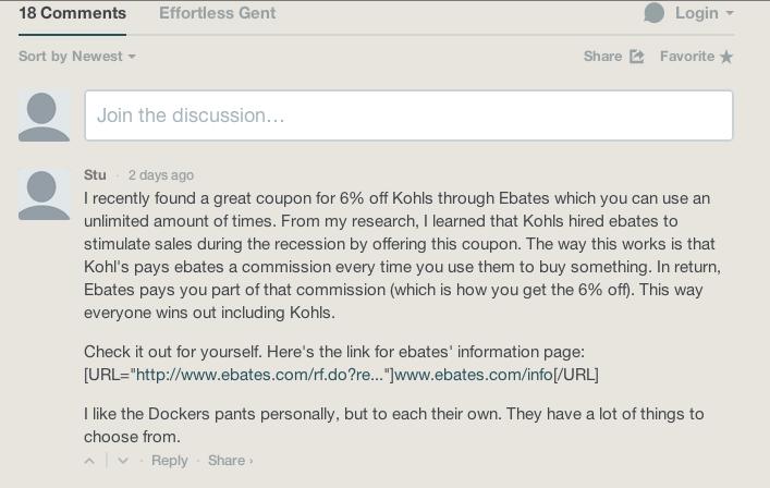 ebates comment spam effortless gent