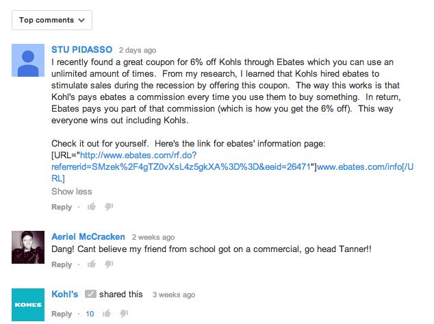 ebates comment spam kohls youtube