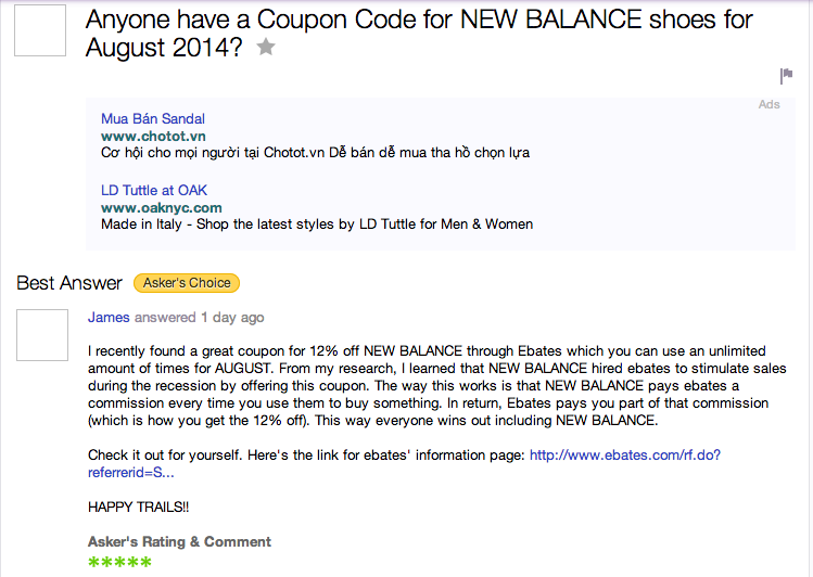 ebates comment spam yahoo answers