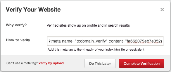 verify website pinterest
